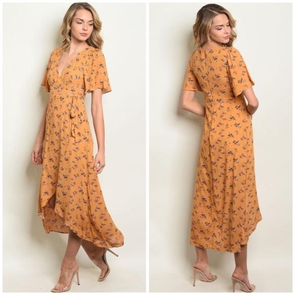 Juna Blue Dresses & Skirts - Mustard Floral High-Low Dress